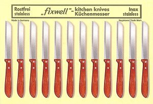 Kitchen Knives, wooden handle - 12 pcs. card